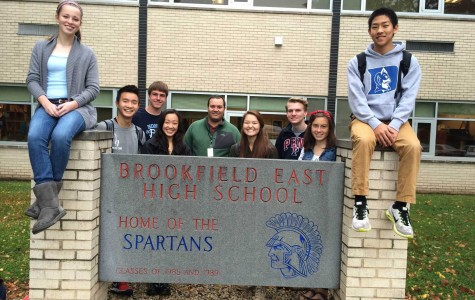 Brookfield Central High School students travel to Brookfield East to take Calculus III during first block.  Emily Cape ('15), Nathan Wang ('15), Mitchell Hummel ('15), Lily Chen ('15), the Calculus III teacher Professor Ridha Moussa, Lauren Chiang ('15), Erik Nesler ('15), Emily Lowerr ('15), and Sam Liu ('15). Not pictured: Abby Haynes ('15) and Alyssa Borowski ('15).