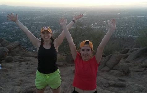 Natalie and Allison Hartwig ('16) pose onn Camelback Peak, just one stop on their spring break adventure with their grandmother.