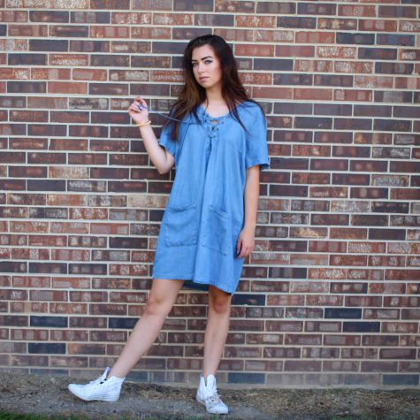 "Vivian Gross ('17) says, ""I just went for a simple casual dress that's easy to throw on. Oversized and lace-up top[s] [are] big right now."""