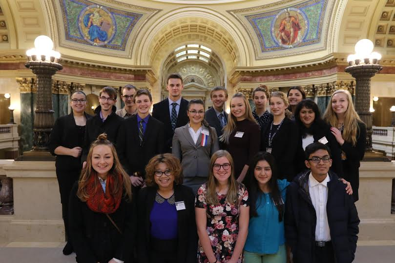 Members of JSA pose for a photo in the Madison State Capitol building.