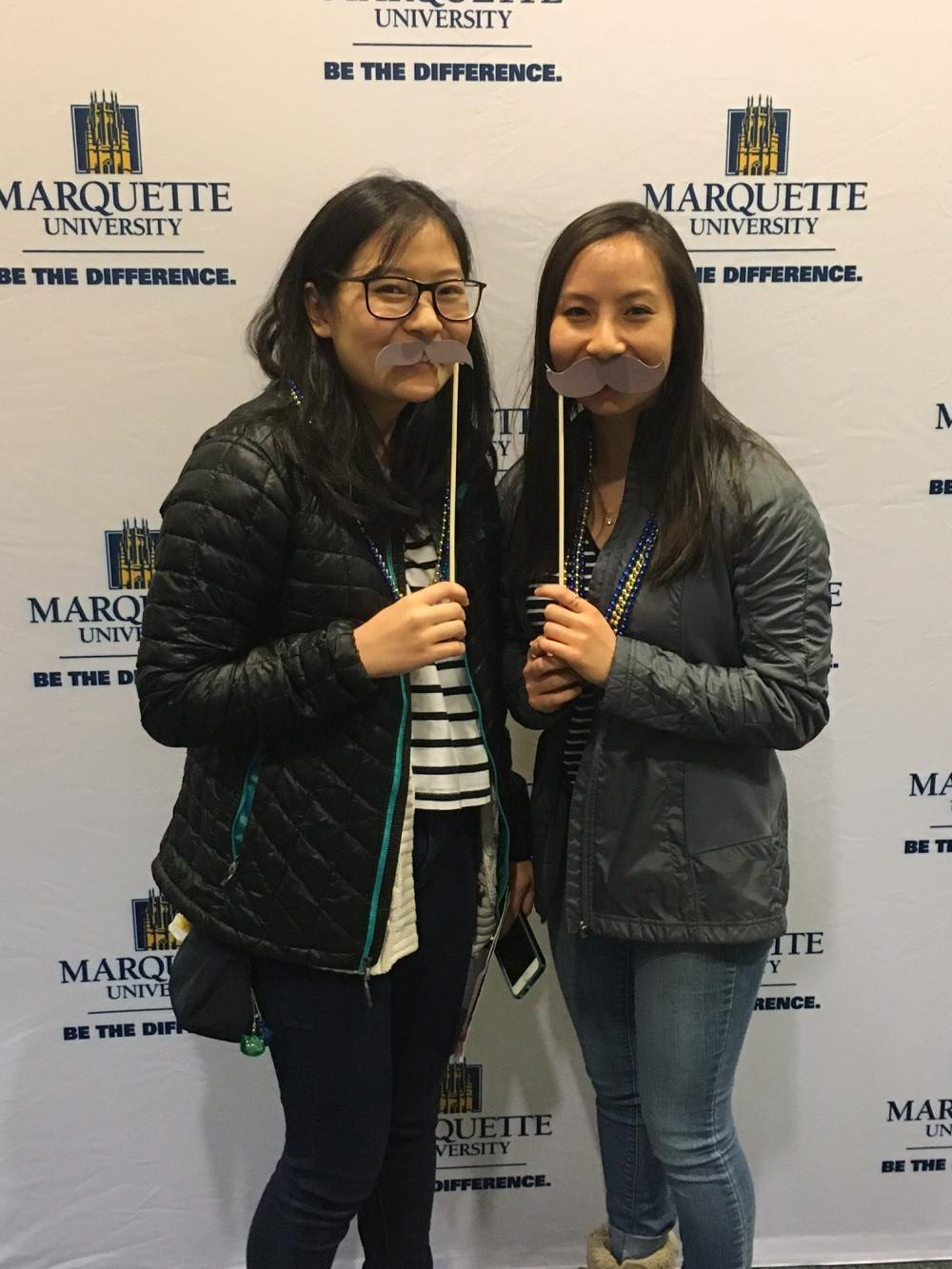 Alice Zheng ('17, right) with her roommate Kelsey Cho (left) from Nazareth Academy, IL.