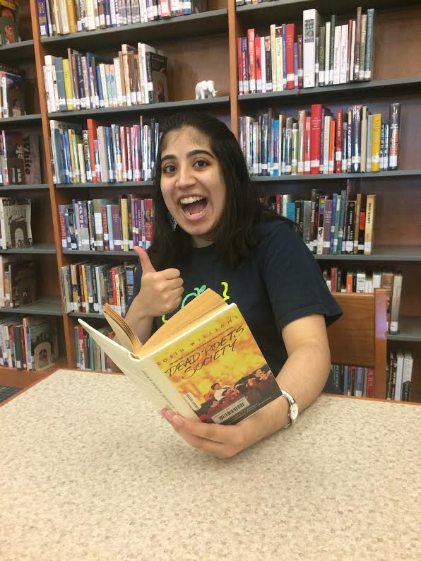Payal+Ahuja+%28%E2%80%9817%29+gives+a+thumbs-up+alongside+her+copy+of+Dead+Poets+Society.+which+she+describes+as+%E2%80%9Cthought-provoking%E2%80%9D+and+%E2%80%9Ccoolio.%E2%80%9D