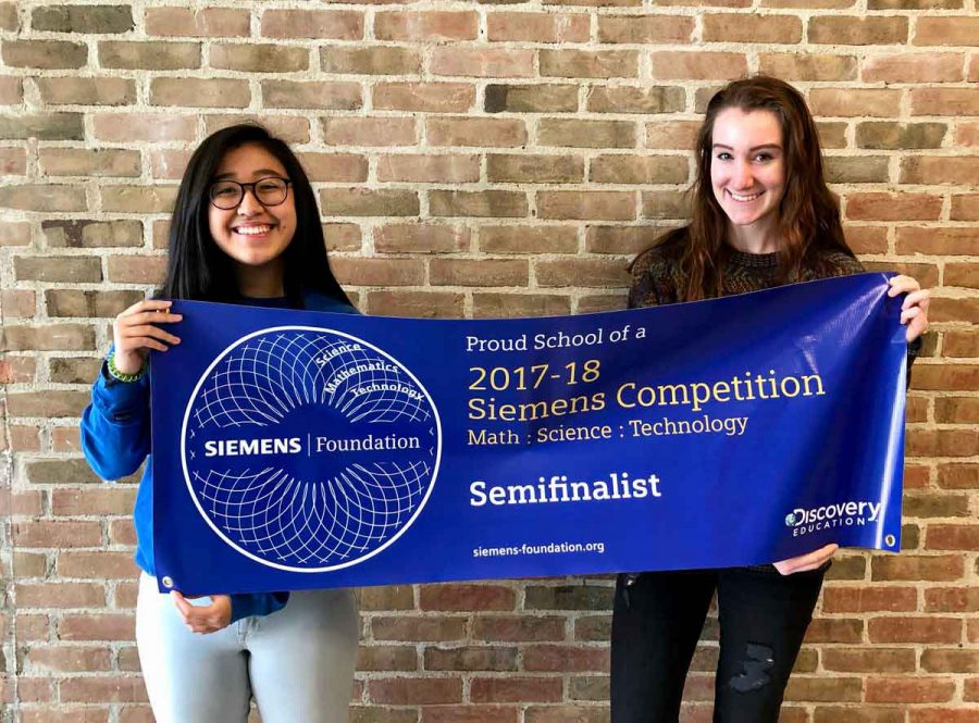Laurel Chen ('18) and Reilly Olinger ('18) proudly show off their achievement. The Siemens Foundation holds the competition annually and this year, only about 500 projects out of the 2,000 entries were nominated as semifinalists.