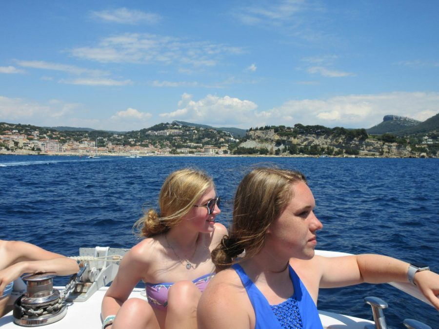 Taylor Canitz ('19) and Amy Keane ('19) look out over a view of the Mediterranean Sea while on a boat ride in Cassis. This marked the second of three consecutive beach days after the family stay,  the first being at the Pont du Gard. The students enjoyed fourty-five minutes out at sea. Those brave enough to sit at the rail were sprayed with cold, Mediterranean water during the rockier portions of the ride.