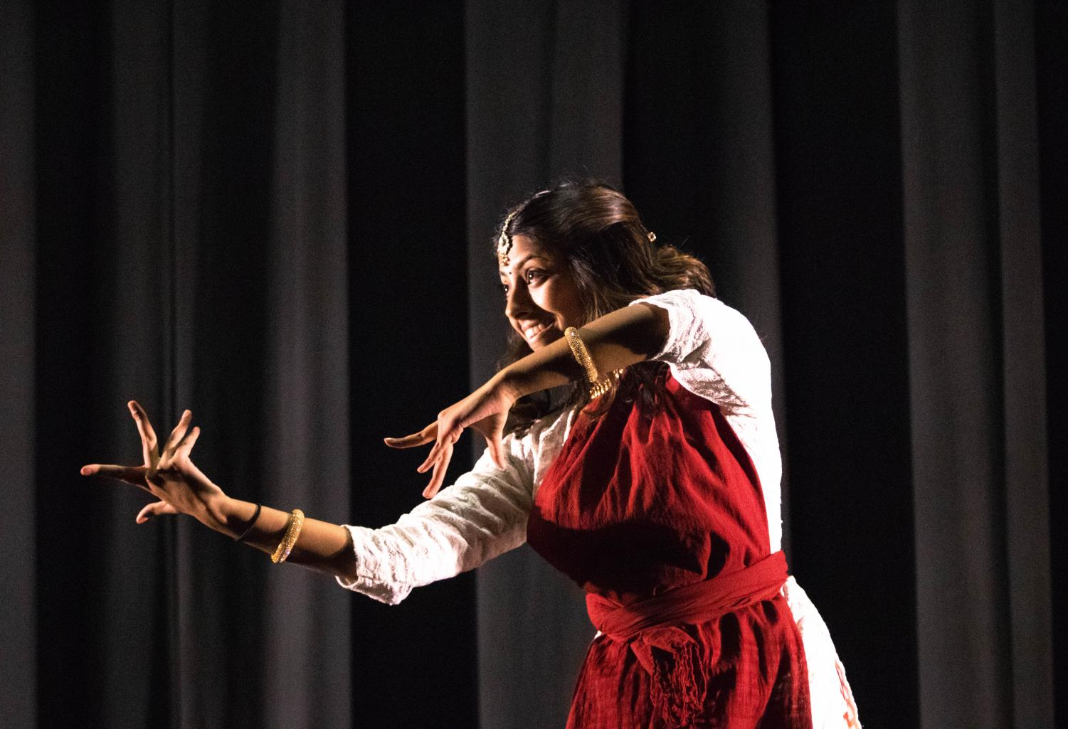 Ananya Rajesh ('20) performed Bharatanatyam, a classical type of dance originating from South India, as her talent.