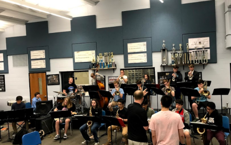 Mr. Gillette directs Jazz 1 during their morning practice. The group is preparing for Bebop and BBQ, which will be held on Saturday, June 1 from 6-10 p.m.