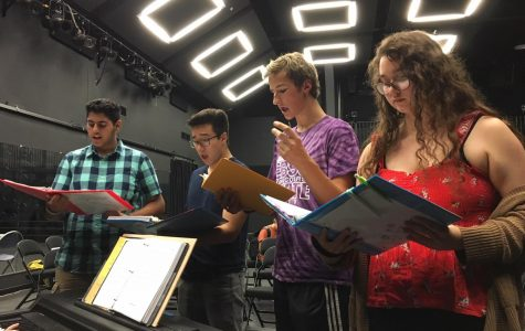 Left to right: Nishant Namboothiry ('22), Jonah Morioka ('20), Michael Long ('22), and Natalie Lara ('20) rehearse their parts for the future performance. The cast rehearses in the Black Box almost every day after school, singing tunes such as Topsy Turvy and The Bells of Notre Dame. The rehearsal schedule becomes more rigorous as the premier date nears.