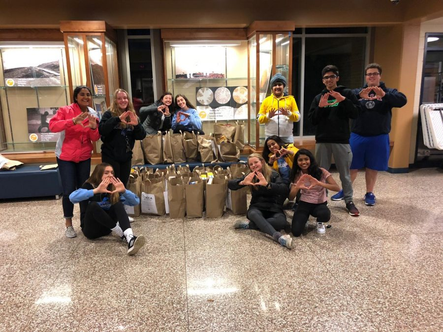 DECA members throw up the DECA diamond after a successful round of collection. All the bags pictured and the ones gathered by the one group that had not returned in time for the photo were delivered to the Waukesha Food Pantry the next day. Back row: Iksha Dhawan ('20), Emily Berger ('20), Mikayla Utnemer ('20), Rawan Hamadeh ('20), Harshman Sihra ('22), Rajat Mittal ('19), and Brad Steinert ('19).   Front row: Lauren Roskopf ('20), Maggie Conlon ('20), Veda Menon ('22), and Janani Sundar ('19). (Photo from the 2018 Trick-or-Can).