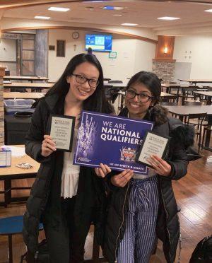 Emily Liu ('20) and Ananya Rajesh ('20) at a Debate Meet