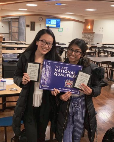 Emily Liu ('20) and Ananya Rajesh ('20) at a Debate Meet
