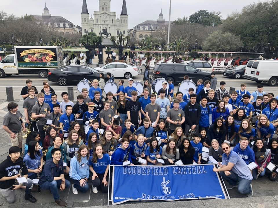 The BCHS band poses for a group shot after their pep band performance in Jackson Square